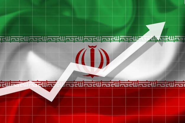 이란 국기의 배경에 흰색 화살표 성장