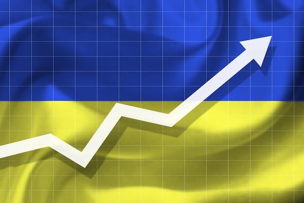 우크라이나 국기의 배경에 흰색 화살표 성장
