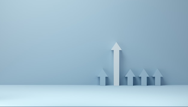 White arrow towards successful growth. the chosen one. case of success concept. 3d rendering.