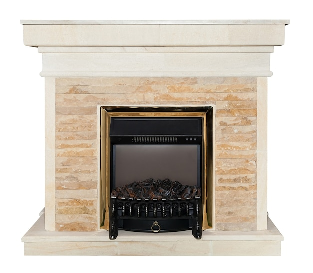 White artificial fireplace isolated on white