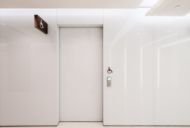White automatic doors are indoors