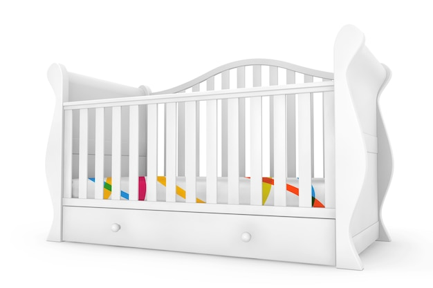 Белая детская кроватка на белом фоне. 3d рендеринг