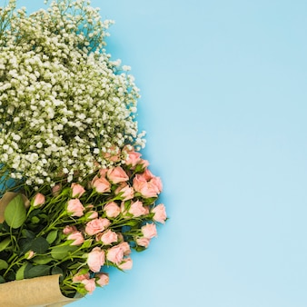 White baby's-breath and pink roses flowers on blue background