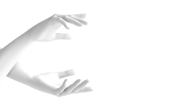 白い背景の3 d手のジェスチャー。 3 dレンダリング、3 dイラスト。