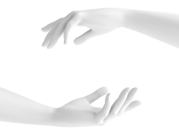 白い背景の3 d手のジェスチャー。