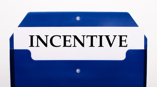 On a white background, a blue folder for papers. in the folder is a sheet of paper with the word incentive