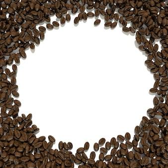 커피 콩으로 둘러싸인 텍스트 흰색 배경