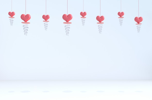 White background of love. red heart, lamp on valentine's day.