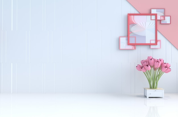 White background of love on valentine's day and new year. 3d render.