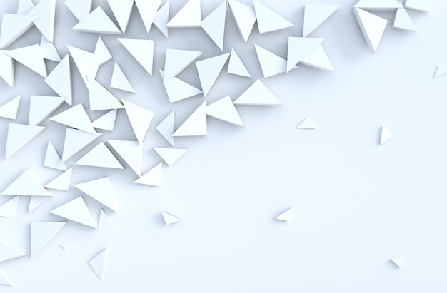 White background pattern with regular extruded triangles pattern on wall, 3d render.