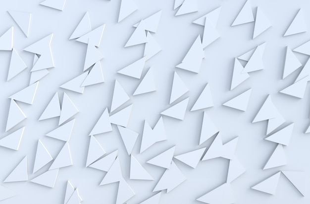 White background pattern with regular extruded triangles pattern on wall