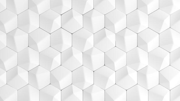 幾何学的な形の白い背景のテクスチャ。 3dイラスト、3dレンダリング。