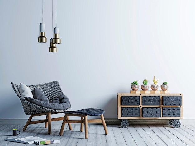 White background wall in hipster style living room with armchair and vintage chest of cacti.