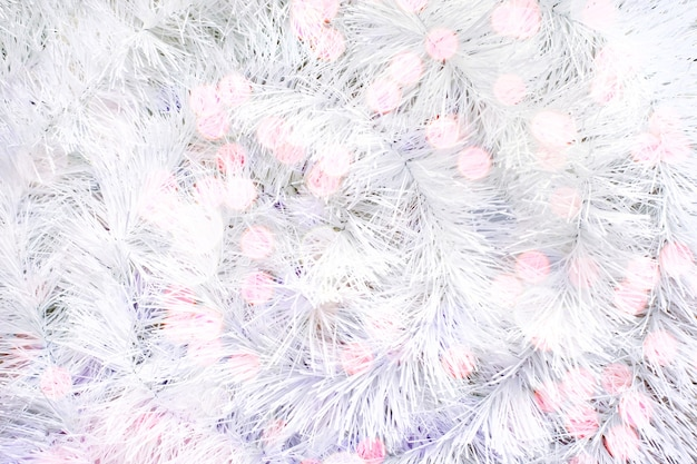 White background of white synthetic tinsel