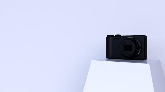 表彰台にカメラと白い背景