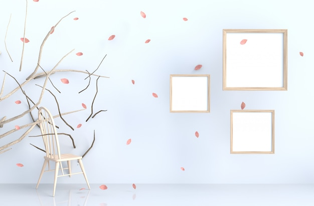 White background with picture frame and blow pink leaves, branch, chair.