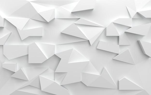 삼각 폴리곤, 3d 렌더링 흰색 배경