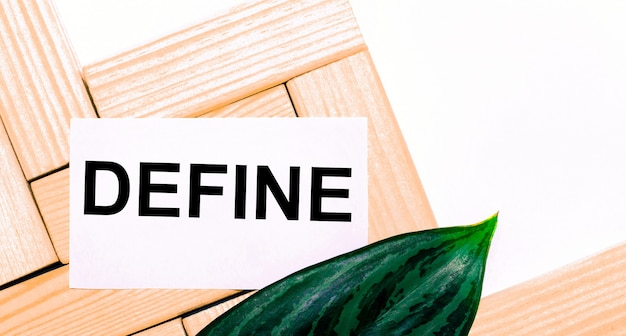 On a white background wooden building blocks, a white card with the text define and a green leaf of the plant. template. view from above