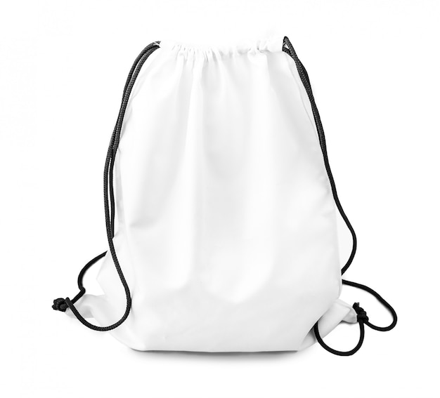 White backpack with black string