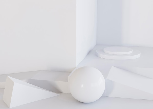White ball and geometric shapes background