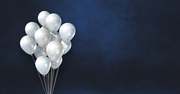 White balloons bunch on a black wall background. horizontal banner. 3d illustration render