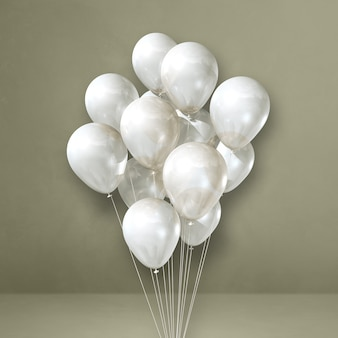 White balloons bunch on a grey wall background. 3d illustration render