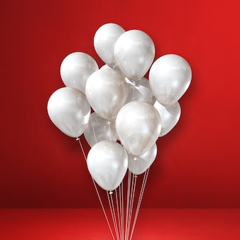 White balloons bunch on a red wall background. 3d illustration render