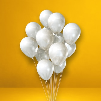 White balloons bunch on a yellow wall background. 3d illustration render