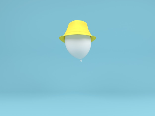 White balloonyellow hat fly in air concept pastel minimal background