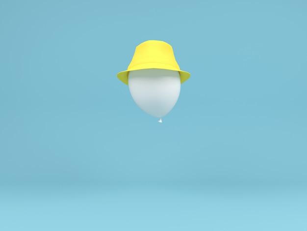 흰색 풍선 노란 모자 공기 개념 파스텔 최소한의 배경에서 비행