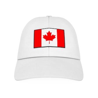 白い背景の上のカナダの旗と白い野球帽。 3dレンダリング。