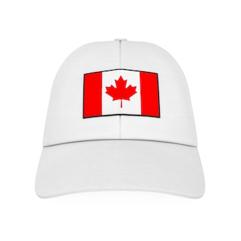 White baseball cap with canada flag on a white background. 3d rendering.