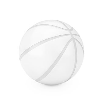 White basketball ball in clay style on a white background. 3d rendering