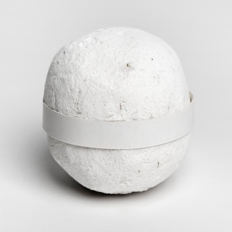 White bath bomb on white background