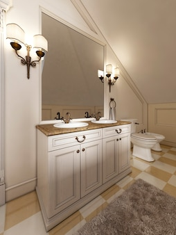 프로방스 욕실 측면에 대형 거울과 촛대가 있는 흰색 세면대. 세면대 2개가 있는 대리석 상판. 3d 렌더링.
