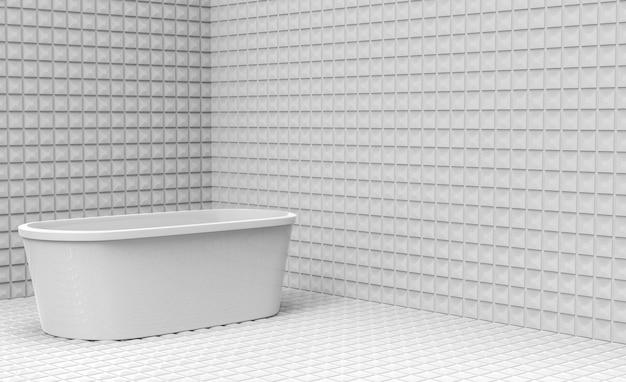 白い浴槽の正方形のセラミックタイルの部屋の壁