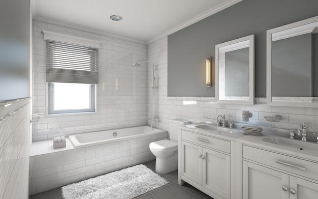 Белая ванная в загородном доме