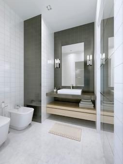 호텔 아파트의 흰색 욕실