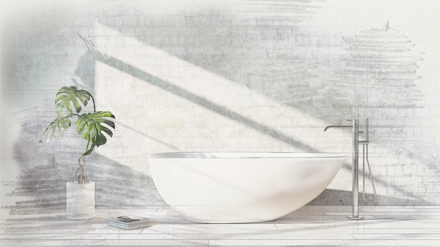 White bathtub standing with freestanding bath mixer in a modern bathroom