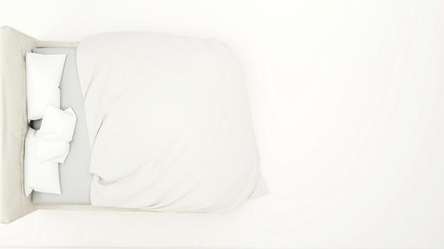 План белой кровати для художественных работ - 3d rendering.jpg