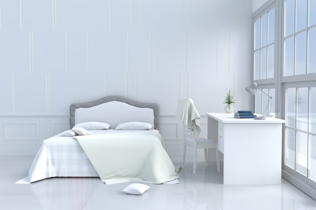 White bed room decor bed, desk,pillow,cement wall .3d rendering.