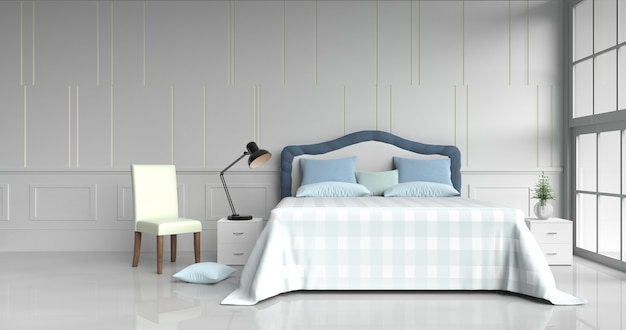 White bed room decor with pillows, table light blue blanket, chair, window,3d render.