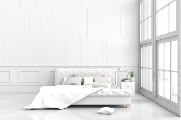 White bed room decor with pillows, white blanket, bed, lamp, window, 3d render.