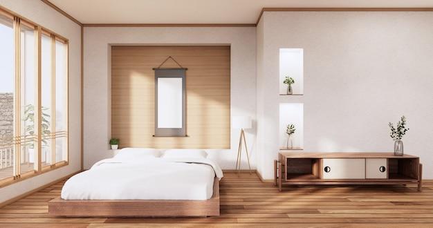 열대 객실 내부와 다다미 바닥에 흰색 침실 일본식 디자인. 3d 렌더링