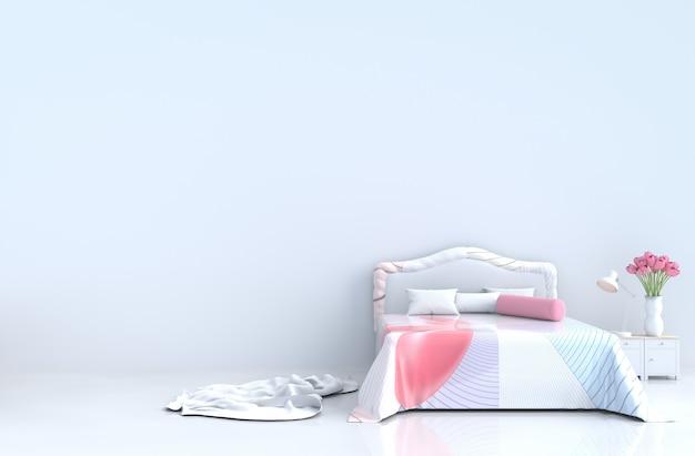 Белая кровать в день святого валентина. декор с полосатой кроватью, тюльпаны, кафельный пол. 3d визуализация.
