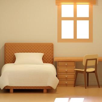 Белая спальня и гостиная в отеле или квартире спальня простой дизайн для произведений искусства