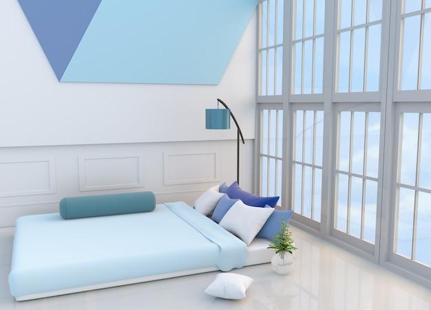 Белый декор спальни светло-голубая кровать, подушки, окно, синяя лампа, подставка, стена.