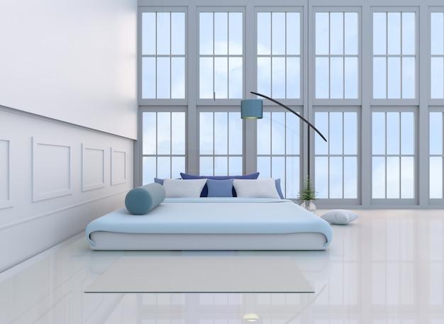Белый декор спальни с светло-голубой кроватью, подушками, окном, ковровым покрытием, синей лампой, подставкой.