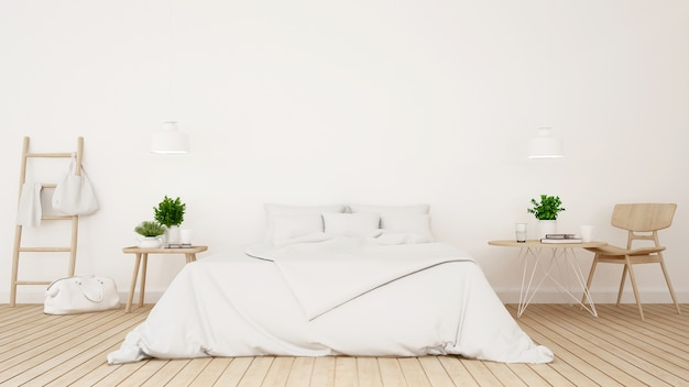 White bedroom or guestroom of hotel minimal design