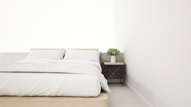 아파트 또는 집에서 흰색 침실-3d 렌더링